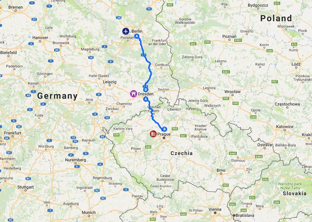 route from berlin tegel airport to dresden germany and on to prague czech republic via a13 a17 and d8