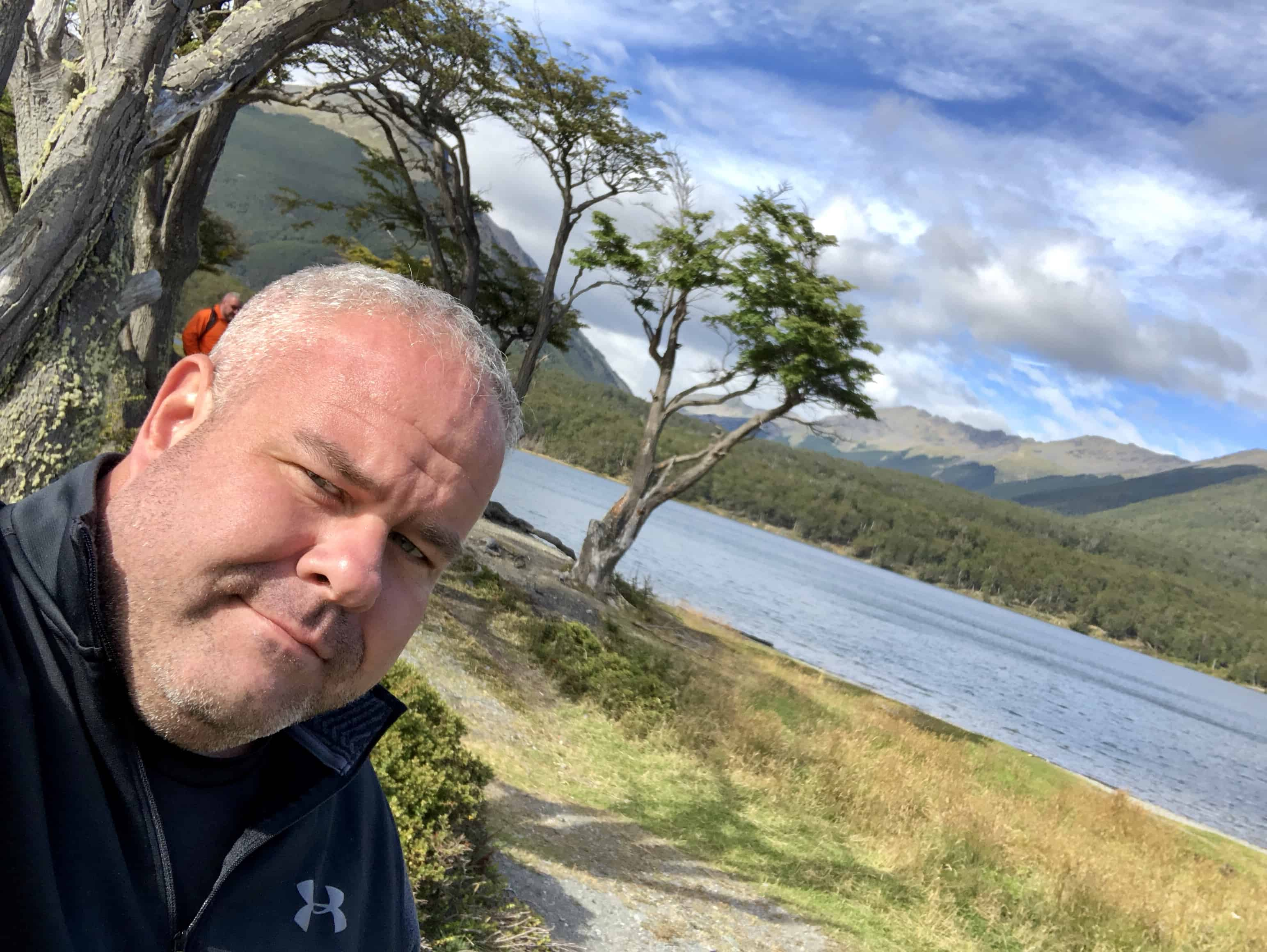 Quick selfie walking along shore of Isla Grande de Tierra del Fuego near the border of Argentina and Chile.